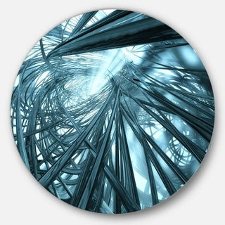 Designart 'Fractal 3D Stripes Everywhere' Abstract Art Large Disc Metal Wall art