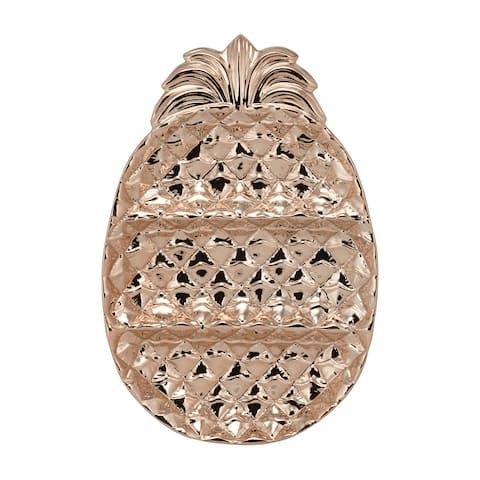 10 Strawberry Street Rose Gold Ceramic 14-inch 3-section Pineapple Serving Platter