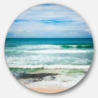 Designart 'Indian Ocean' Seascape Photography Round Wall Art