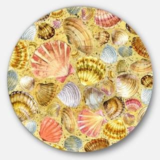 Designart 'Seashell and Sea Sand' Sea and Shore Painting Disc Metal Artwork