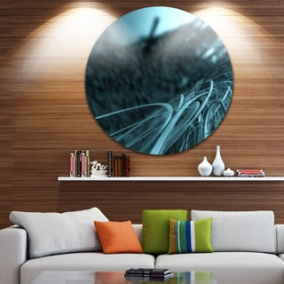 Designart 'Fractal 3D Bottom Stripes' Abstract Art Large Disc Metal Wall art