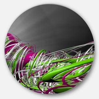 Designart 'Fractal 3D Green Purple Stripes' Abstract Art Round Wall Art