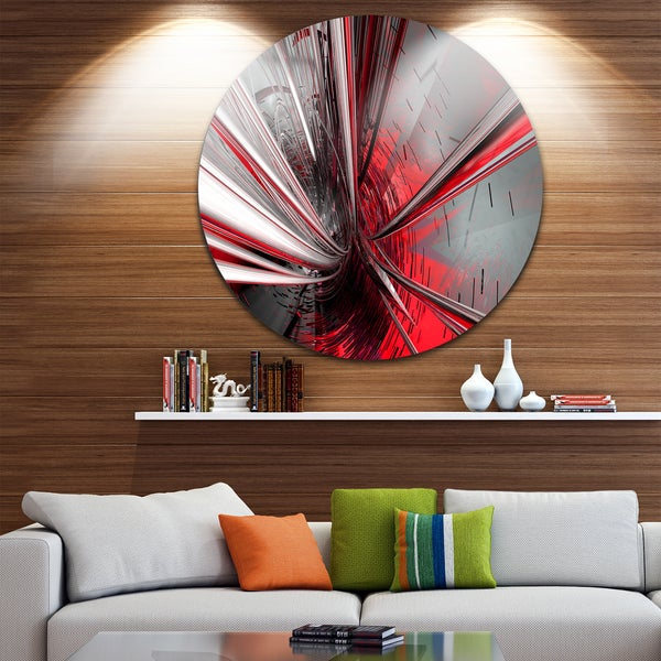 Designart 'Fractal 3D Deep into Middle' Abstract Art Circle Metal Wall Art
