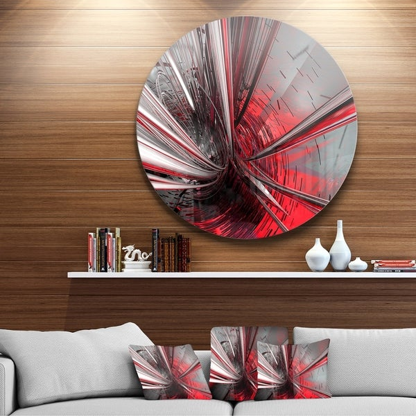 Designart 'Fractal 3D Deep into Middle' Abstract Art Circle Metal Wall Art