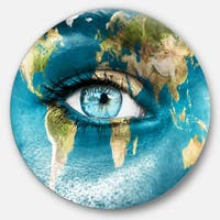Designart 'Planet Earth and Blue Eye' Abstract Digital Art Round Wall Art