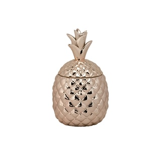 10 Strawberry Street Rose Goldtone Ceramic Medium Pineapple Canister