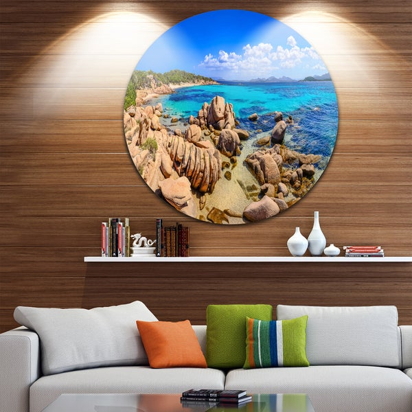 Designart 'Coastline Panorama' Beach and Shore Photo Circle Wall Art