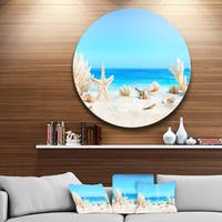 Designart 'Seashells on Tropical Beach' Seashore Photo Circle Metal Wall Art