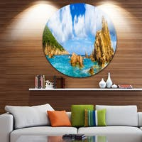 Designart 'Costa Paradise Panorama' Seashore Photo Round Wall Art