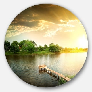 Designart 'Lake Under Evening Sun' Landscape Photo Round Metal Wall Art