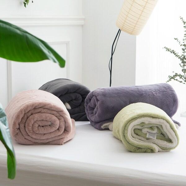Qbedding Fuzzy Soft Reversible Solid Color Velvet Plush Blanket