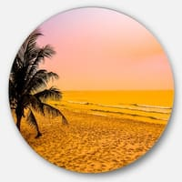 Designart 'Coconut Tree Silhouette' Landscape Photography Disc Metal Wall Art