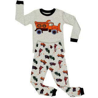 Elowel Boys' Sand Grey Cotton 2-piece Pajama Set