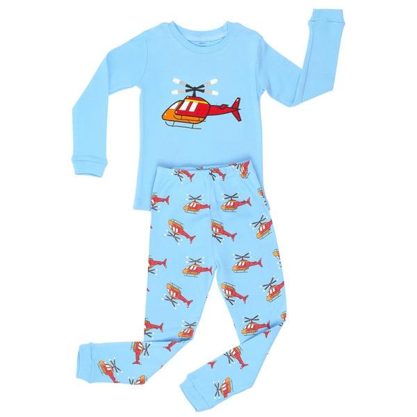 Elowel Boys' Helicopter Cotton 2-piece Pajama Set
