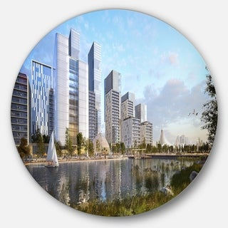 Designart 'Residential Complex' Cityscape Photography Large Disc Metal Wall art