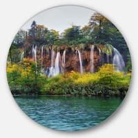 Designart 'Plitvice Lakes Croatia' Landscape Photo Disc Metal Artwork