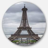 Designart 'Grayscale Eiffel Tower' Cityscape Photography Circle Wall Art