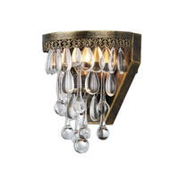 Delser Antique Brass Draping Crystal Sconce