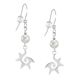 Jewelry by Dawn White Faux Pearl Sterling Silver Starburst Earrings