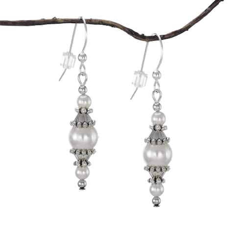Handmade Jewelry by Dawn Round White Faux Pearl with Pewter Accents Dangle Earrings (USA)