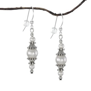 Jewelry by Dawn Round White Faux Pearl with Pewter Accents Dangle Earrings