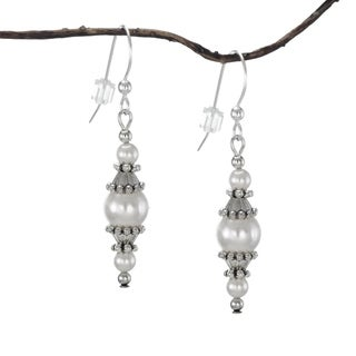 Jewelry by Dawn Round White Faux Pearl with Pewter Accents Dangle Earrings - Silver