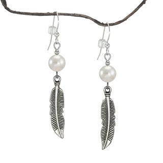 Jewelry by Dawn Pewter Faux Pearl Feather Dangle Earrings