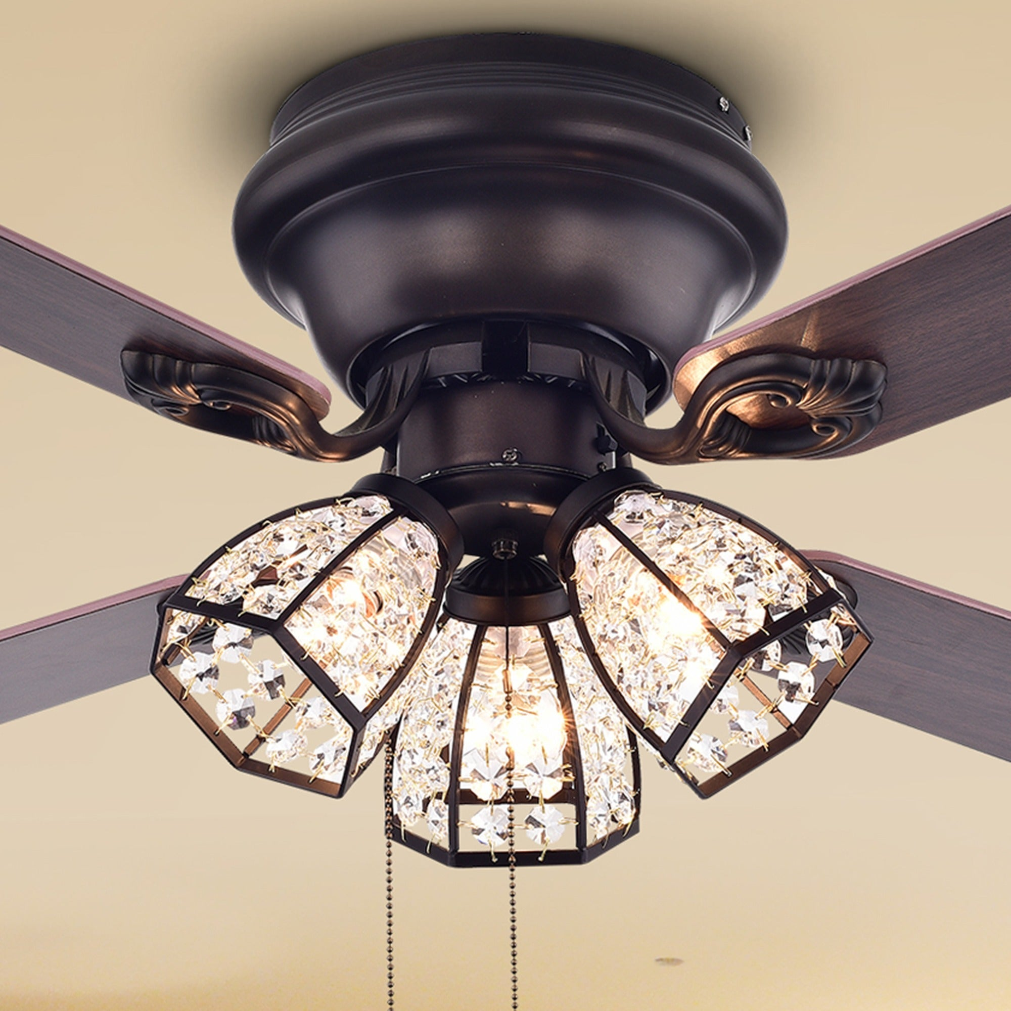 Details About Tarudor 3 Light Crystal 4 Blade Dark Wood 52 In Ceiling Fan Antique Bronze