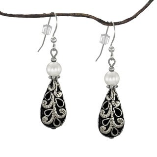 Jewelry by Dawn White Faux Pearl with Antique Puff Teardrop Earrings