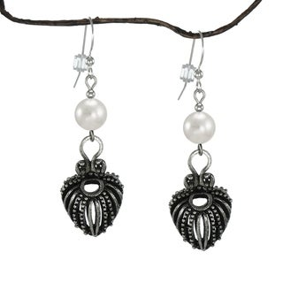 Jewelry by Dawn Antique Pewter White Faux Pearl Dangle Earrings