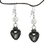 Handmade Jewelry by Dawn Antique Pewter White Faux Pearl Dangle Earrings (USA)