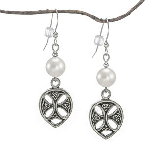 Jewelry by Dawn Antique Pewter White Faux Pearl Celtic Dangle Earrings