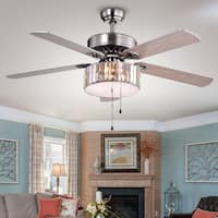 Silver Orchid Taylor 3-light 5-blade Wood Nickel Crystal 52-inch Ceiling Fan