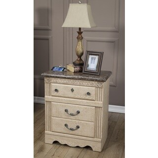 Sandberg Furniture Amalfi 2-Drawer Nightstand with USB (Beige, Cream)
