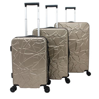 Chariot Crystal 3-piece Expandable Lightweight Spinner Luggage Set (Option: Champagne)