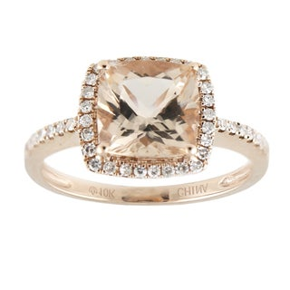 10k Rose Gold Morganite and 1/5ct TDW Diamond Solitaire Cushion Ring (H-I, I1-I2)