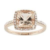 10k Rose Gold Morganite and 1/5ct TDW Diamond Solitaire Cushion Ring (H-I, I1-I2)