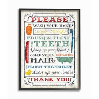 'Wash Your Hands' Framed Giclee Texturized Art