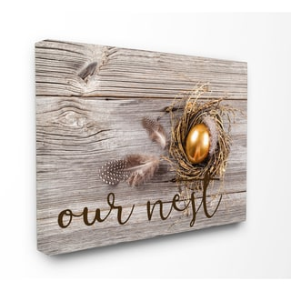 'Our Nest Golden Egg Distressed Wood' Stretched Canvas Wall Art