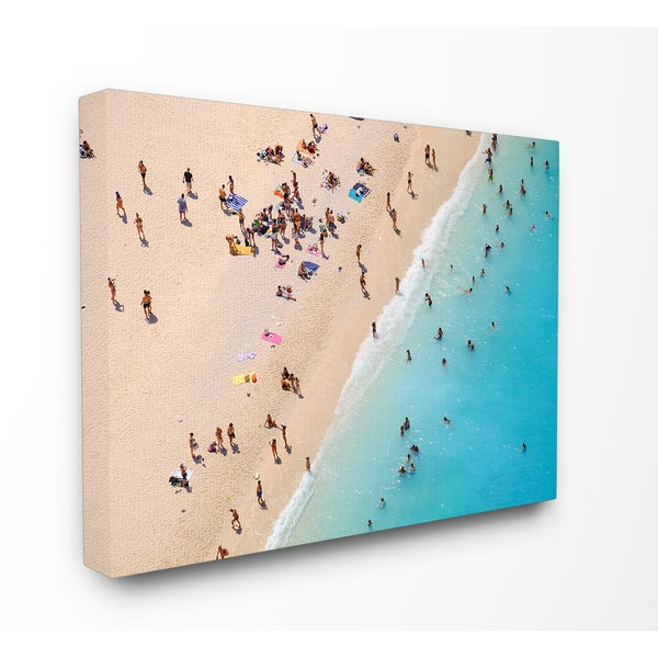 'Aerial Beach View Sunbathers' Stretched Canvas Wall Art