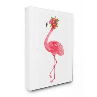 'Pink Flamingo with Flowers Facing Left' Stretched Canvas Wall Art