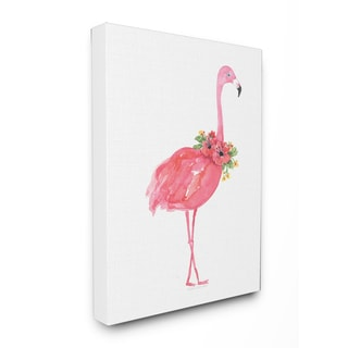 'Pink Flamingo with Flowers Facing Right' Stretched Canvas Wall Art