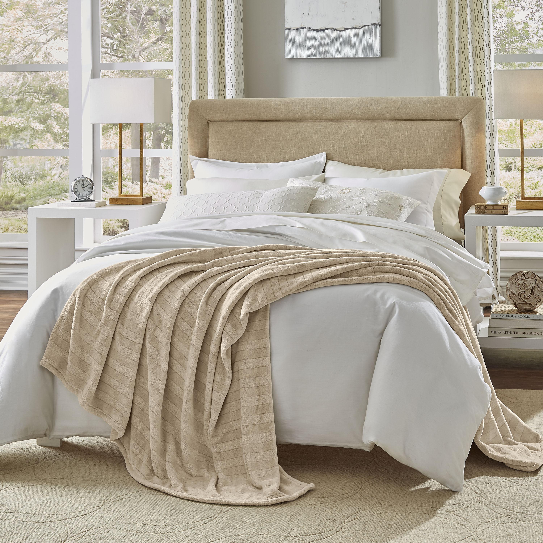 Serta Damask Stripe Blanket (Twin size Tan) (Fleece, Soli...