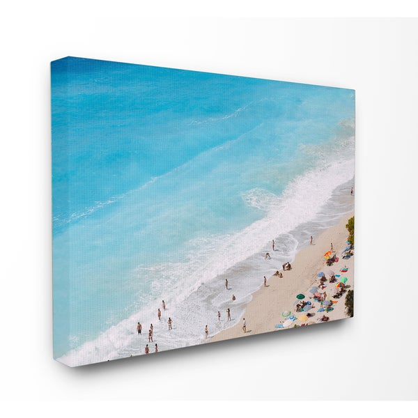 'Aerial Beach View Rough Surf' Stretched Canvas Wall Art