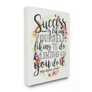 Success Is Liking Yourself Floral' Floral Stretched Canvas Wall Art