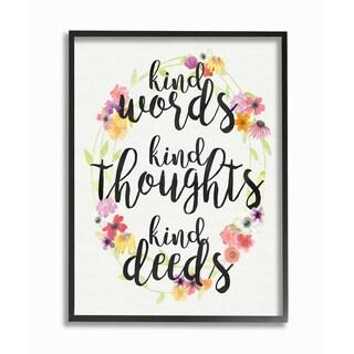 'Kind Words Kind Thoughts Kind Deeds' Framed Giclee Texturized Art