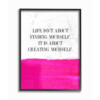 'Life Is About Creating Yourself' Framed Giclee Texturized Art