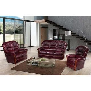 Luca Home Burgundy Leather 3-Piece Sofa Set