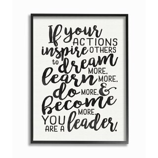 'If Your Actions Inspire Others You Are a Leader' Framed Giclee Texturized Art