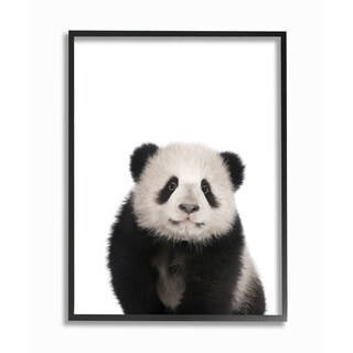 'Baby Animal Studio Photo Panda' Framed Giclee Texturized Art